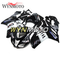 ninja zx6r kaplama kiti batı toptan satış-Batı Siyah Beyaz ZX6R 07-08 Kawasaki ZX-6R Ninja 2007 Için Tam Marangozluk 2008 ZX-6R 07 08 Enjeksiyon ABS Plastik Motosiklet Fairing Kiti Kapakları