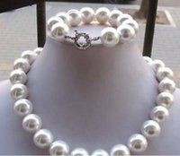 Wholesale 14mm pearl sets resale online - Jewelryr Pearl Set MM white south sea shell pearl necklace bracelet