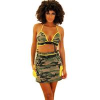 mini sujetadores al por mayor-New Summer Camouflage Beach Conjuntos de 2 piezas Mujer Chaleco con botón halter y mini falda de talle alto Conjunto de ropa de playa Ropa de club Ropa de club
