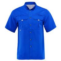 chaqueta deportiva de bambu al por mayor-2019 Summer Men Fishing Shirt Camisa al aire libre Ropa de pesca Hombre Camisas de senderismo Secado rápido UPF40 + UV Plus EE. UU. Talla M-XXL camisa