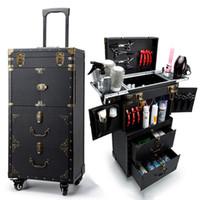 caixas de rodas venda por atacado-Maquiador Barber Rolling Toolbox, saco de mala de cosméticos de roda, Nails Manicurist Trolley Case, caixa de divisão de beleza