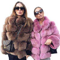 меховые шкуры лисы оптовых-Full Pelt Thickened Winter  Fur Coat Brown Purple Ladies Slim Winter Coat Stand Collar Manteau Femme Hiver 2018 Bontjas