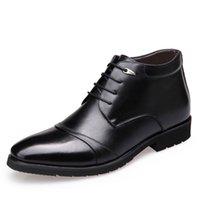 sapatas pretas do tornozelo do negócio venda por atacado-Homens Botas De Couro Genuíno Preto Homem de Negócios Escritório Formal Botas Sapatos Lace Up de Alta Qualidade Da Marca de Pele Morna Sapatos de Inverno Homens Tornozelo Bootste