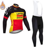 camisas de ciclismo lotto venda por atacado-Mais recente modelo 2019 inverno térmica Fleece manga Longa LOTTO equipe Homens Ciclismo Jersey bib calças compridas terno Ciclismo Roupas maillot Ropa ciclismo