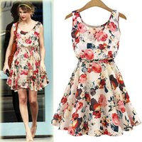 yazlık elbiseler kore bayanlar toptan satış-İlkbahar Yaz Yeni Kore Sonbahar Elbise Kadın Lady Casual Bohemian Çiçek Leopar Kolsuz Yelek Baskılı Plaj Şifon Elbise