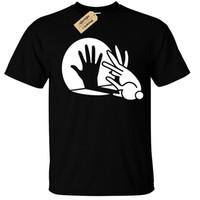 руки свободные кролик оптовых-Кролик рука тень кукольный футболка смешно прохладный мужские мужчины женщины мужская мода футболка Бесплатная доставка