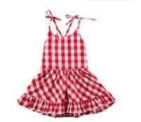 venta vestidos rojos para las niñas al por mayor-ventas calientes de las muchachas del bebé del verano del vestido de tela escocesa rojo y blanco boutique de los niños 100% vestidos de boutique de algodón
