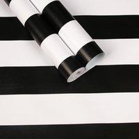 tapetenrollenstreifen großhandel-Moderne Streifen selbstklebende PVC Wasserdichte Tapete Schwarz Grau Schlafzimmer Living Romm Vinyl Kontakt Wand Papier Möbel Aufkleber