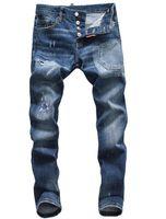 herren neue mode jeans schwarz großhandel-Neue ds2 Jeans Herren Distressed Zerrissene Biker Jeans Slim Fit Motorrad Biker Denim Hip Hop Designer Hosen Mode Schwarz Herren Jeans
