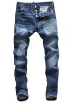 homens nova moda jeans preto venda por atacado-New ds2 Jeans Mens Rasgado Motociclista Rasgado Calça Jeans Slim Fit Motociclista Denim Hip Hop Designer de Calças Calças Jeans Moda Mens Preto