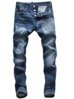 jeans de moda para hombre nuevos negros al por mayor-Nueva ds2 Jeans para hombre desgastado arrancó Biker Jeans Slim Fit motocicleta Biker Denim Hip Hop pantalones de diseñador de moda para hombre Negro Jeans
