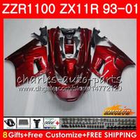 zx ninja 95 al por mayor-Cuerpo para KAWASAKI NINJA ZX-11R llamas negras calientes ZZR1100 ZX11R 93 94 95 96 97 31HC.9 ZZR 1100 ZX 11R ZX11 R 1993 1998 1999 2000 2001 Carenados