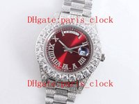 Wholesale auto rings resale online - SF All ice drill white shell Big diamond watch ring Luxury Red Face men Watch with L stainless steel Auto Movement timing precision