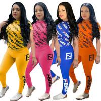 sıkı kadın tişörtü toptan satış-Kadın FF Eşofman Kısa Kollu T-shirt + Pantolon 2 Parça Set Yaz Tops Tees + Tayt Kıyafetler Tayt Spor Kazak A41305
