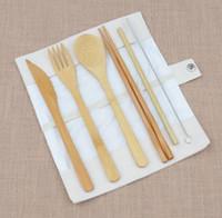 bambu mutfak bezleri toptan satış-DHL Bambu Çatal Seti Bez Çanta ile 6 Adet / takım kaşık Çatal Bıçak çubuklarını saman fırça Sofra Takımı Yemek Seti Mutfak Pişirme Mutfak aracı