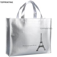 Wholesale store bags resale online - Metallic Shiny Silver Tote Bags in Shopping Promotional Reusable Waterproof Shopper Non Woven Bag For New Stores