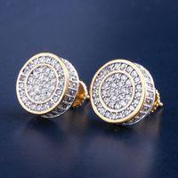 diseños de joyas de estilo indio al por mayor-12mm Bling hacia fuera helada CZ pendiente redondo color oro plateado plata Pendientes de tornillo Volver joyas de moda Hip Hop