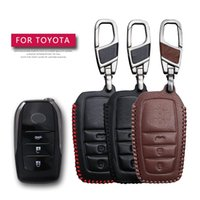 Wholesale remote case covers for sale - Group buy KUKAKEY Remote Smart Car Key Case For CHR Prius Crown Camry Highlander RAV4 EZ Leather Keychain Key Holder Cover Bag