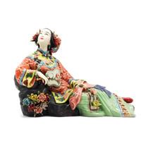 ingrosso pittura di figure classiche-Figurine di porcellana cinese antica Decorazioni per la casa Statua Figura Ornamento in ceramica Classica donna primavera artigianale dipinta arte