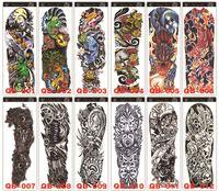 etiqueta engomada del tatuaje rosas al por mayor-DHL libre de la carga completa Nueva Flor del tatuaje del brazo Sticker esqueletos y rosas pegatinas tatuaje temporal de Transferencia de Agua de la manga del tatuaje del arte de cuerpo