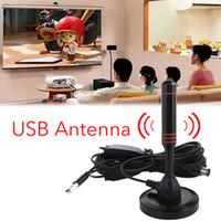 tv dijital araba alıcısı toptan satış-Yüksek Kazanç 22dB TV Anten DVB-T Televizyon için USB TV Tuner Taşınabilir Kapalı / Açık / Araba HD Dijital TV Anten Sinyali Düz HDTV Alıcısı