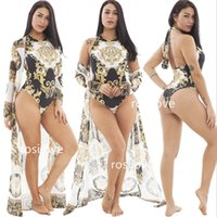 gehangen hals sexy großhandel-2019 Frau Bikini-Anzug Sexy Badeanzug Zweiteiliger Badeanzug Strand-Bikini Sommer-Strandkleid Print-Kleid Hang Neck Typ Lightsome atmen Sie frei