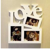 escritorio de almacenamiento al por mayor-Diy marco de fotos de madera hueca carta de amor foto de la familia foto titular de almacenamiento decoración del hogar decoración de la pared regalo de los niños para la memoria