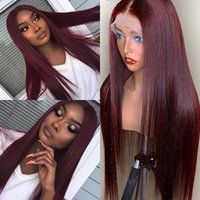 Wholesale black women burgundy human hair wigs resale online - Natural Invisible J Colored Lace Frontal Wig Preplucked Hairline Remy Black Women Burgundy Red Lace Front Human Hair Wigs