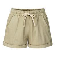 bermudas plus size mulheres venda por atacado-Verão Mulheres Shorts Marca cintura elástica Shorts Ladies Bermuda Sólidos Casual Mulheres Moda Estilo doce cor Plus Size 6XL