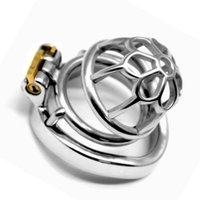 neueste männliche keuschheitskäfige großhandel-2019 neueste Edelstahl Keuschheits Käfig Jungfräulichkeit Stealth Lock Penis Penisring Sexspielzeug für Männer G7-1-263A