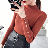 Wholesale bamboo stitch knitting resale online - Designer Sweater Women Sweaters Woman Regular Sleeve Spring Button Sweater Lady Female Tops Clothes New Fashion Korean Drop Shipping