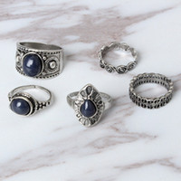 Wholesale vintage style ring settings for sale - Group buy Band Rings Hot Style European And American Vintage Black Diamond Ring Set Water Cloud Ring Five Piece Ring Set