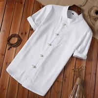chemises en lin blanc achat en gros de-Chemise D'été Hommes Bouton Lin Et Coton Blouse À Manches Courtes De Style Chinois Blanc Hommes Vintage Chemise Camisa Masculina