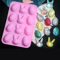 kaninchen-plätzchen großhandel-Ostern Halloween Kaninchen Ei Form Eiswürfel Silikon Backformen DIY Modell Cookie Schokolade Kuchen Buchung Tool C3