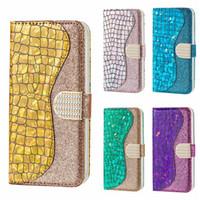 tarjetas de diamante iphone al por mayor-Funda de cuero de lujo con brillo para Samsung Galaxy Note 10 Pro Huawei P20 Lite 2019 Bling Glitter Crocodile Diamond Tarjeta de identificación Cubiertas híbridas