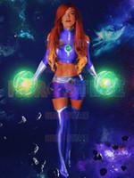 ingrosso costumi personalizzati per bambini-Teen Titans Starfire Costumi Cosplay Lycra Spandex Zentai Adulti Bambini Supereroi Body Custom Made Halloween Party Suit