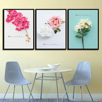 Wholesale beautiful flower art painting resale online - HD Print Painting Minimalist Poster Wall Pictures Beautiful Color Flowers Nordic Style Canvas Art For Home Wedding Decoration