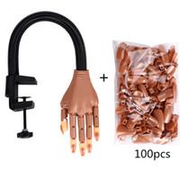 équipement de doigt achat en gros de-Tamax Nail art Practice Hand et 100 PCS Manucure Conseils Réglable Faux Humain Doigts Nail Art Équipement Nail Training Outils