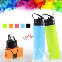 Wholesale stretched bottle for sale - Group buy 600ML Outdoor Portabel Outdoor Silicone Folding Drinking Water Bag Stretching Kettle for Hiking Camping Bottle JXW245