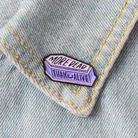 bijoux de mort achat en gros de-Pourpre de cercueil broches en émail Funny Badges Death Dead Zombie Cassette Broches Custom Pastel épinglette Denim Shirt Punk Gothic Jewelry