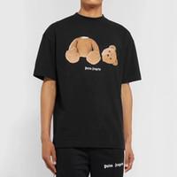 ayılar gömlek kadınlar toptan satış-19ss Palm Angels Tee Karikatür Kırık Ayı Baskılı T-shirt Sevimli Basit Erkek Kadın Yaz Kısa Kollu Sokak Kaykay Tee HFYMTX573