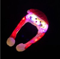 Wholesale adult santa claus hats resale online - Led Plush Christmas Cap Cartoon Santa Claus hat Airbag hats Moving Light Hat For Children Kids Adult Xmas Party cap LJJA3540