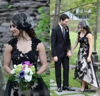 Wholesale black simple gothic wedding dresses for sale - 2019 Hot Sale Country Lace Hi lo Wedding Dresses Sexy Gothic Black Long Garden Bridal Gowns A line Boho