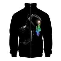 jackson vestuário venda por atacado-Gola jaqueta 2019 novo Michael Joseph Jackson impresso moda jaqueta casual com zíper roupas streetwear