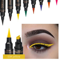 Wholesale chocolate cosmetics resale online - 12 Colors Seal Stamp Brand Liquid Eyeliner Pen Waterproof Fast Dry Black Eye Liner Pencil With Cosmetic Double Ended Eyeliners