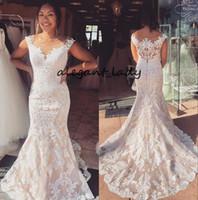botão de volta vestido de noiva venda por atacado-Fit e alargamento vestidos de noiva 2019 vestido de noiva Illusion Neck Lace robe de mariage botões forrados Voltar mangas Mermaid Vestido de casamento