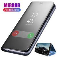 флип-смарт-обложка оптовых-Оригинальный смарт-зеркало телефон чехол для Samsung Galaxy Note 10 Plus A10 A20E A30 A40 A50 A70 A80 J4 J6 J8 2018 J3 J7 четкое представление флип чехол