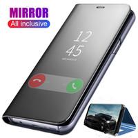 ingrosso guarda la copertura di caso flip iphone-Custodia originale a specchio per telefono intelligente per Samsung Galaxy Note 10 Plus S10 Plus S9 A10 A10S A20S A20E A30S A40 A50 A50S A70 Clear View Flip Cover