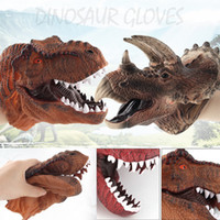 Wholesale iPiggy Dinosaur Tyrannosaurus Rex Head Gloves Hand Puppets Role Play Realistic Soft Toy Dolls Animals Toys for Children Gift