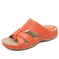 chanclas de cuero al por mayor-Chanclas de cuero de corcho zapatillas de casa para mujer Zapatos de oficina Zapatillas de playa Verano FlipFlops Sandalias De Verano Para Mujer